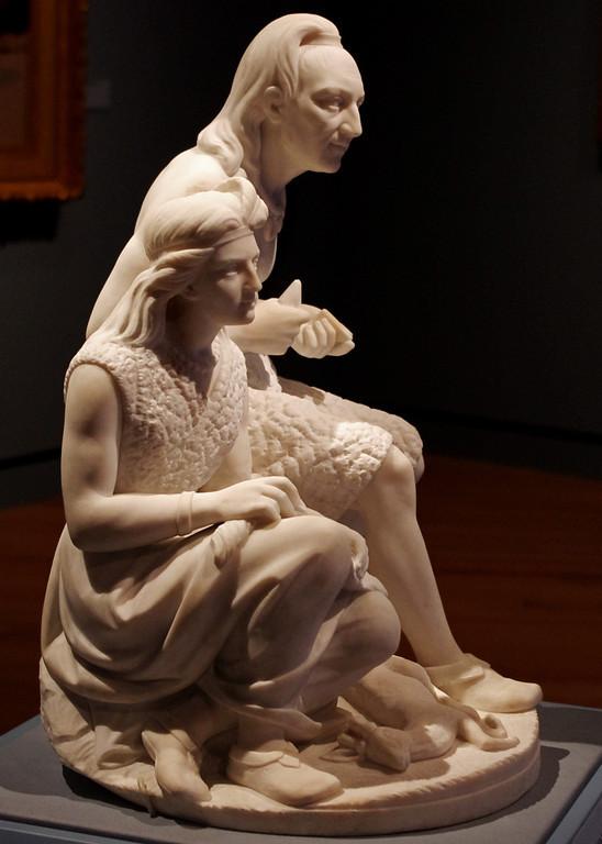 """The Old Arrow Maker"" - marble sculpture by Edmonia Lewis. Crystal Bridges Museum, Bentonville, Arkansas."