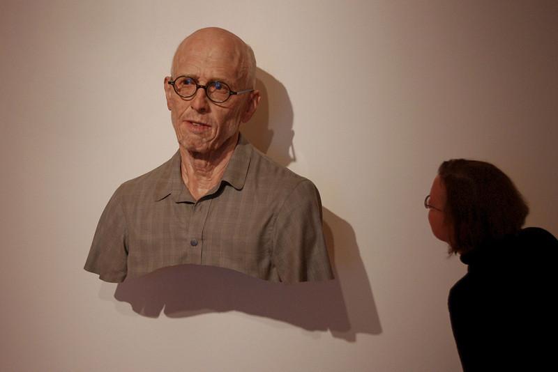 "Rita examines a work by artist Evan Penny entitled ""Old Self Portrait"". Crystal Bridges Museum, Bentonville, Arkansas."