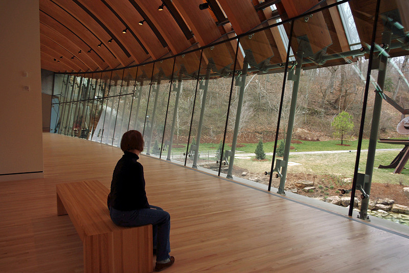 Rita enjoying the view from inside Crystal Bridges Museum, Bentonville, Arkansas.