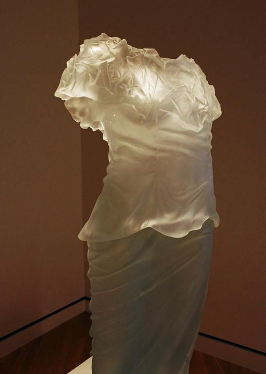 """Dress Impression with Wrinkled Cowl"" - cast glass sculpture by artist Karen LaMonte. Crystal Bridges Museum, Bentonville, Arkansas."