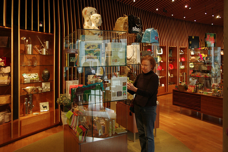 Rita in the gift shop, Crystal Bridges Museum, Bentonville, Arkansas.