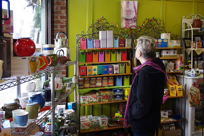 Rita, inside a shop, Eureka Springs, Arkansas.