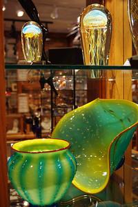 Art glass display, Zarks, Eureka Springs, Arkansas.