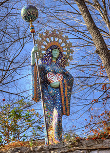 Aza, the Goddess of Basin Springs. Concrete and mosaic, by artist Bruce Anderson. Eureka Springs, Arkansas.