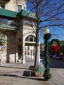 Street scene, Basin Park Hotel, Eureka Springs, Arkansas.