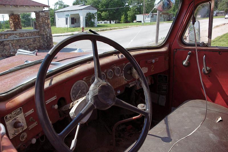 Old fire truck, interior. Everton, Missouri. May 2012