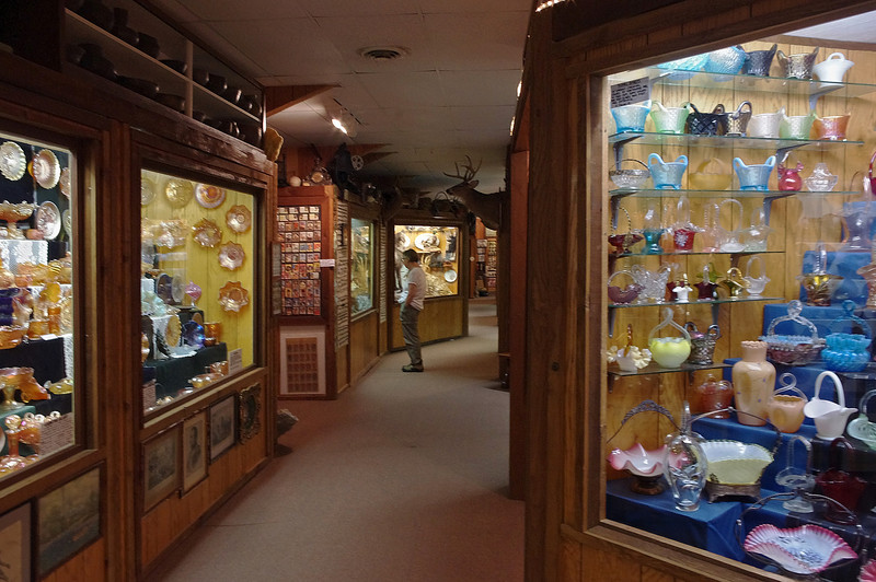 Interior, Golden Pioneer Museum on Highway 86 in Golden, Missouri. Exhibits include Native American artifacts, minerals, and collectable glass - plus much more.