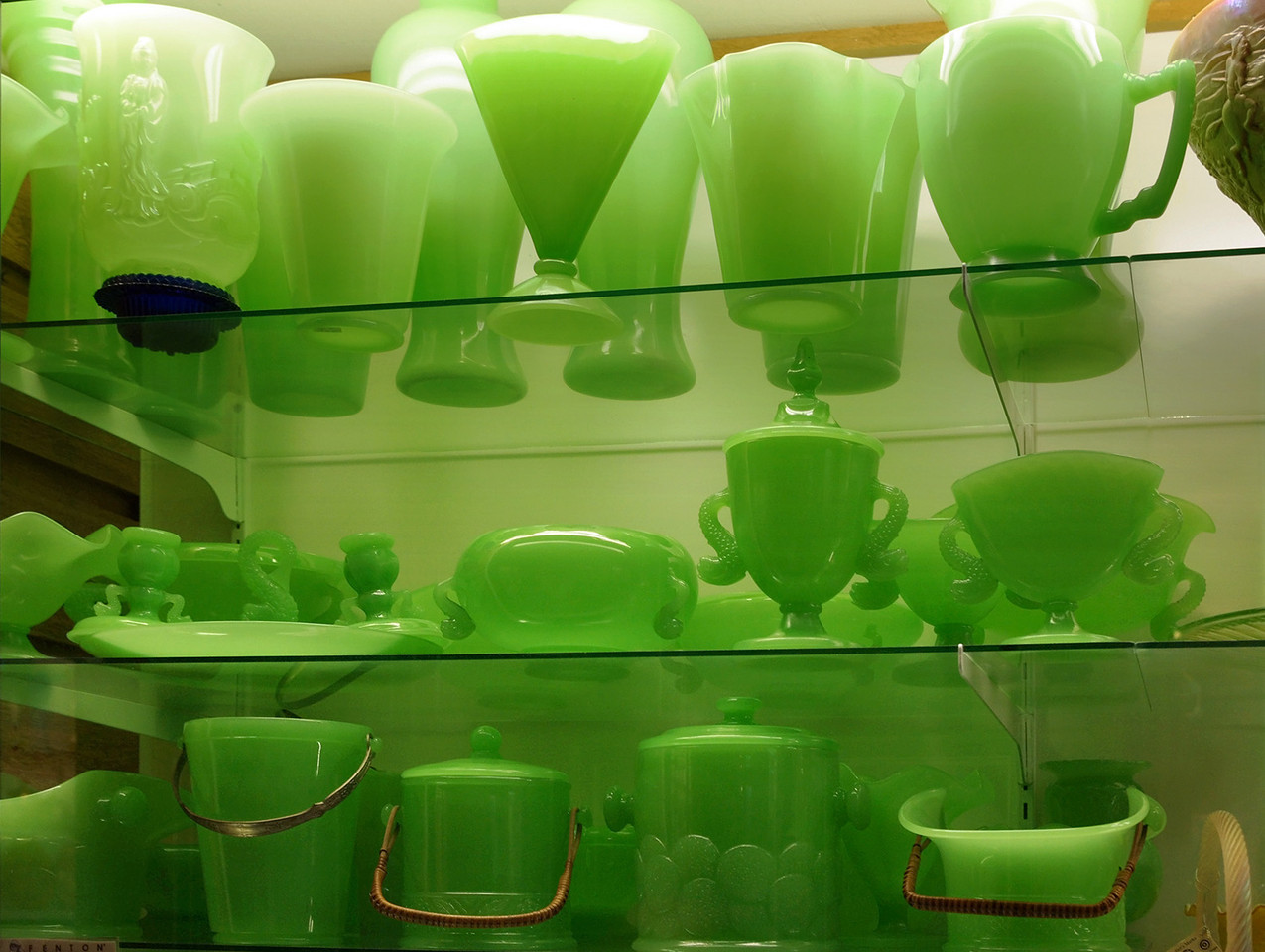 Green Fenton glass on display at the Golden Pioneer Museum on Highway 86 in Golden, Missouri.