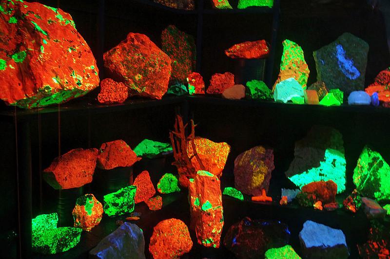 Fluorescent minerals displayed under ultraviolet light. Golden Pioneer Museum on Highway 86 in Golden, Missouri.