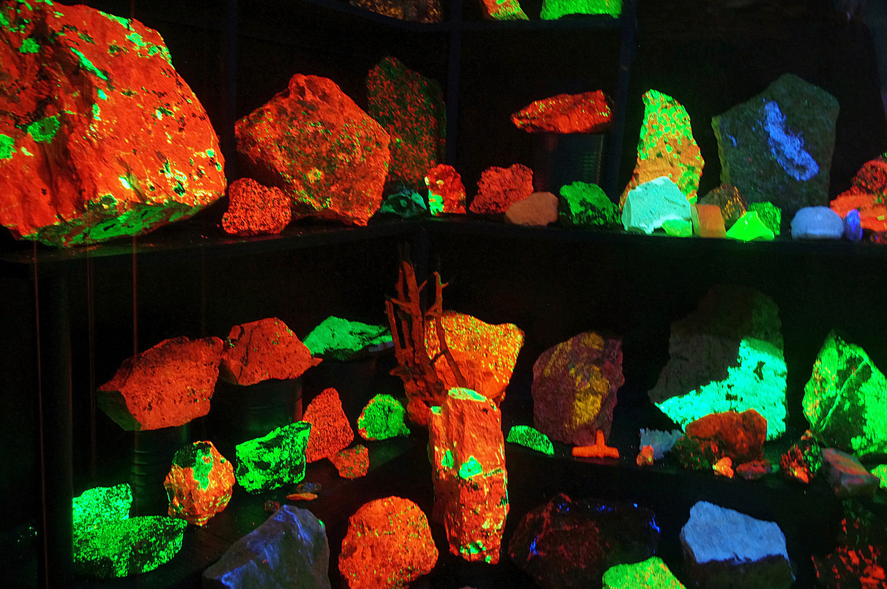 Fluorescent minerals displayed under ultraviolet light. Golden Pioneer Museum on Highway 86 in Golden, Missouri.