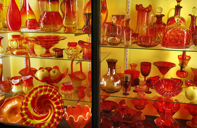 Amber glass display, Duncan and Sons, at the Golden Pioneer Museum on Highway 86 in Golden, Missouri.