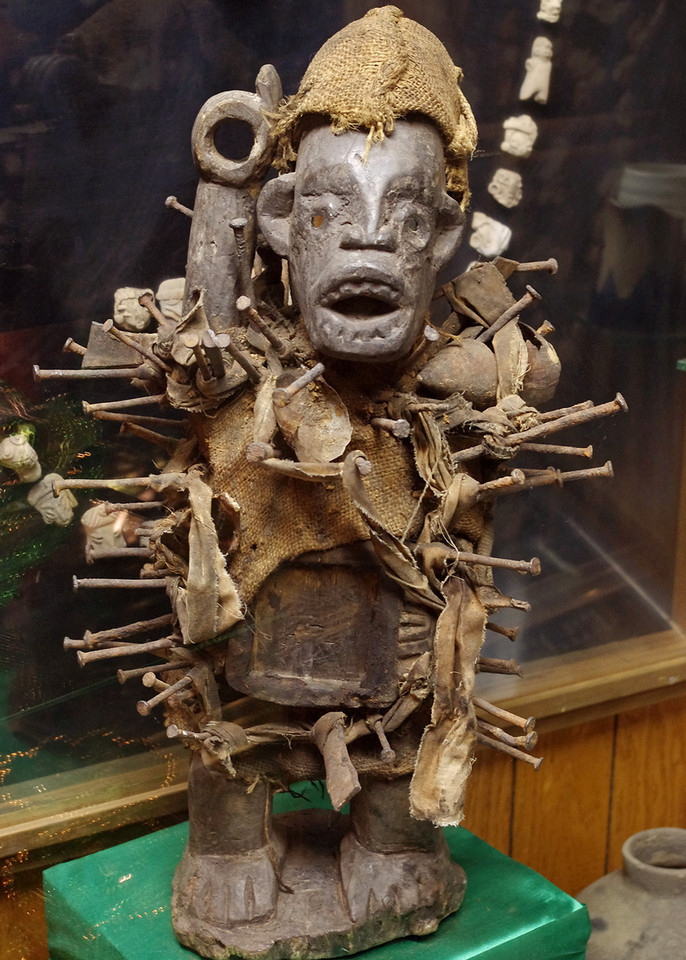 Voodoo figure, embeded with nails. Golden Pioneer Museum on Highway 86 in Golden, Missouri.