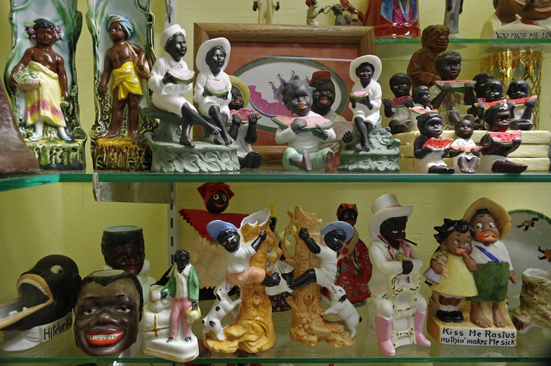There is really no reason that there should be so many tasteless and overtly racist trashy trinkets like these. Display at the Golden Pioneer Museum on Highway 86 in Golden, Missouri.
