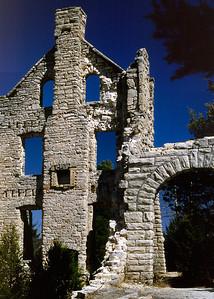 Mansion ruins at Ha Ha Tonka State Park near Camdenton, Missouri. Late 1970s.