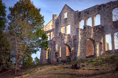 Mansion ruins at Ha Ha Tonka State Park near Camdenton, Missouri. HDR and art filter processing.