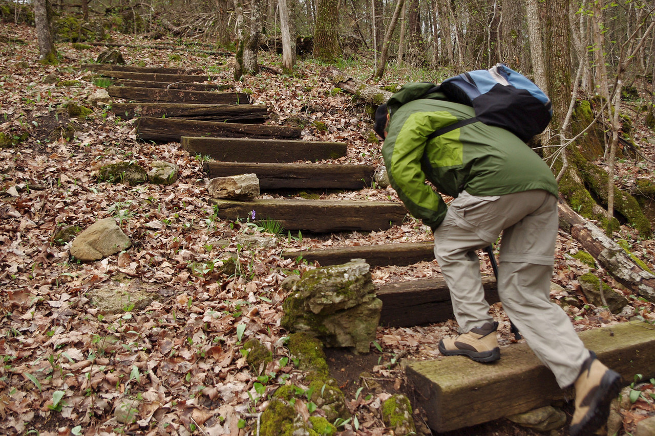 Rita tackles the trail, north entrance of the Henning Conservation Area.