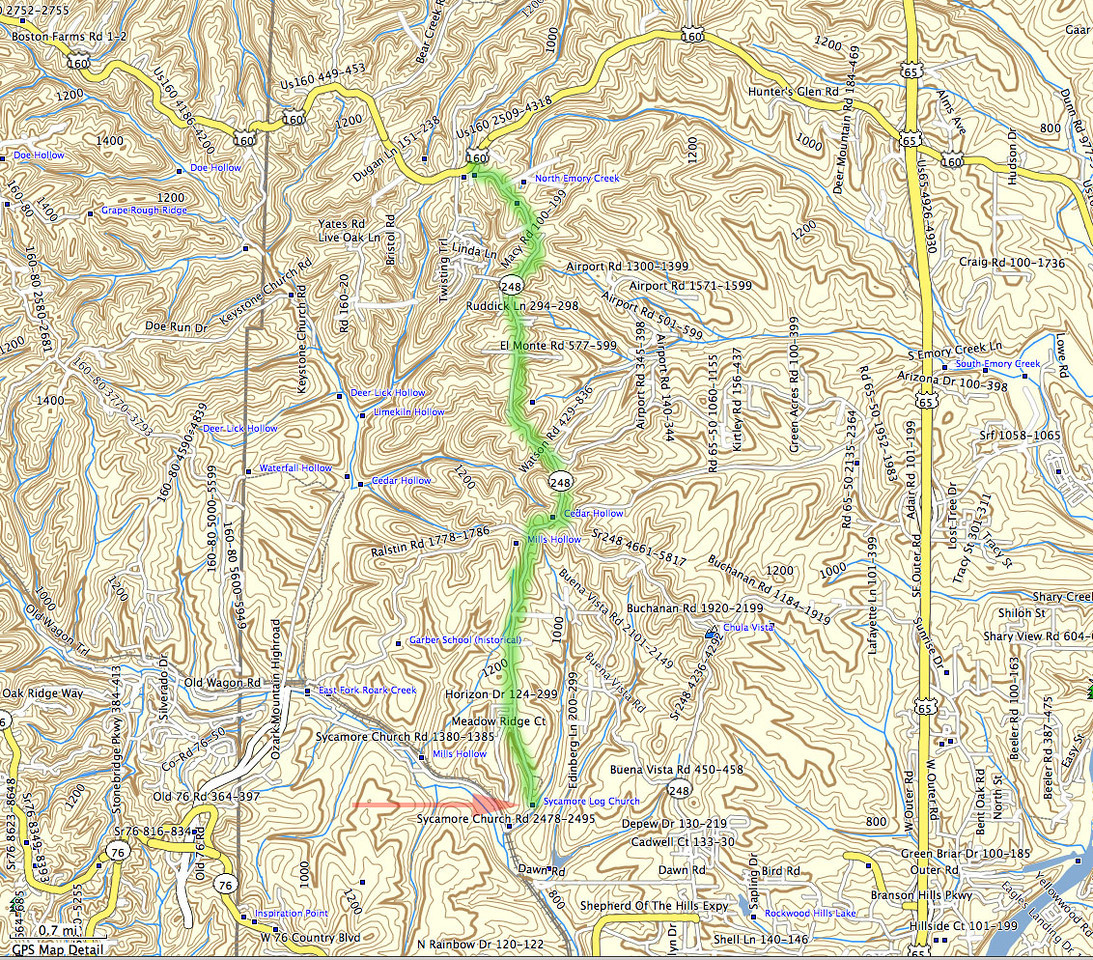 Route to the Sycamore Log Church is highlighted in green. Take 160 south from Springfield (Campbell Street) to 248. Turn south on 248, and after about 4-5 miles watch for a right turn (SW) on the Sycamore Church Road.<br /> <br /> Sure, you could take 65 south from Springfield, but 160 is a little better driving road.