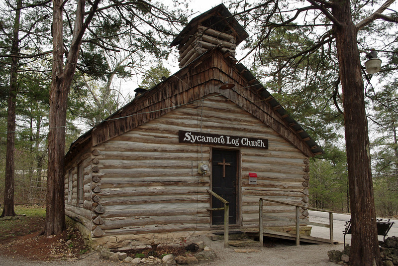 Sycamore Log Church, north of Branson, Missouri.
