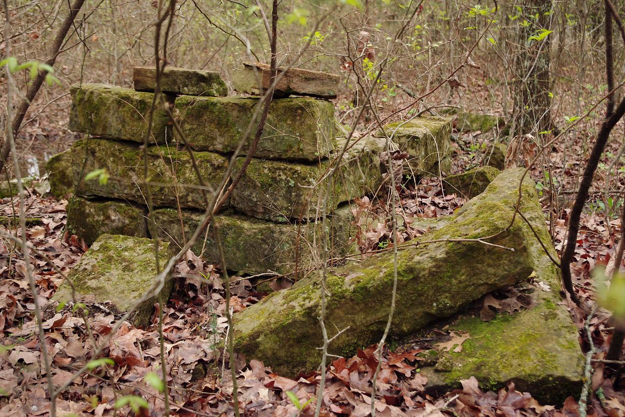 Mossy foundation stones. Homesteader's Trail, Henning Conservation Area, near Branson, Missouri.