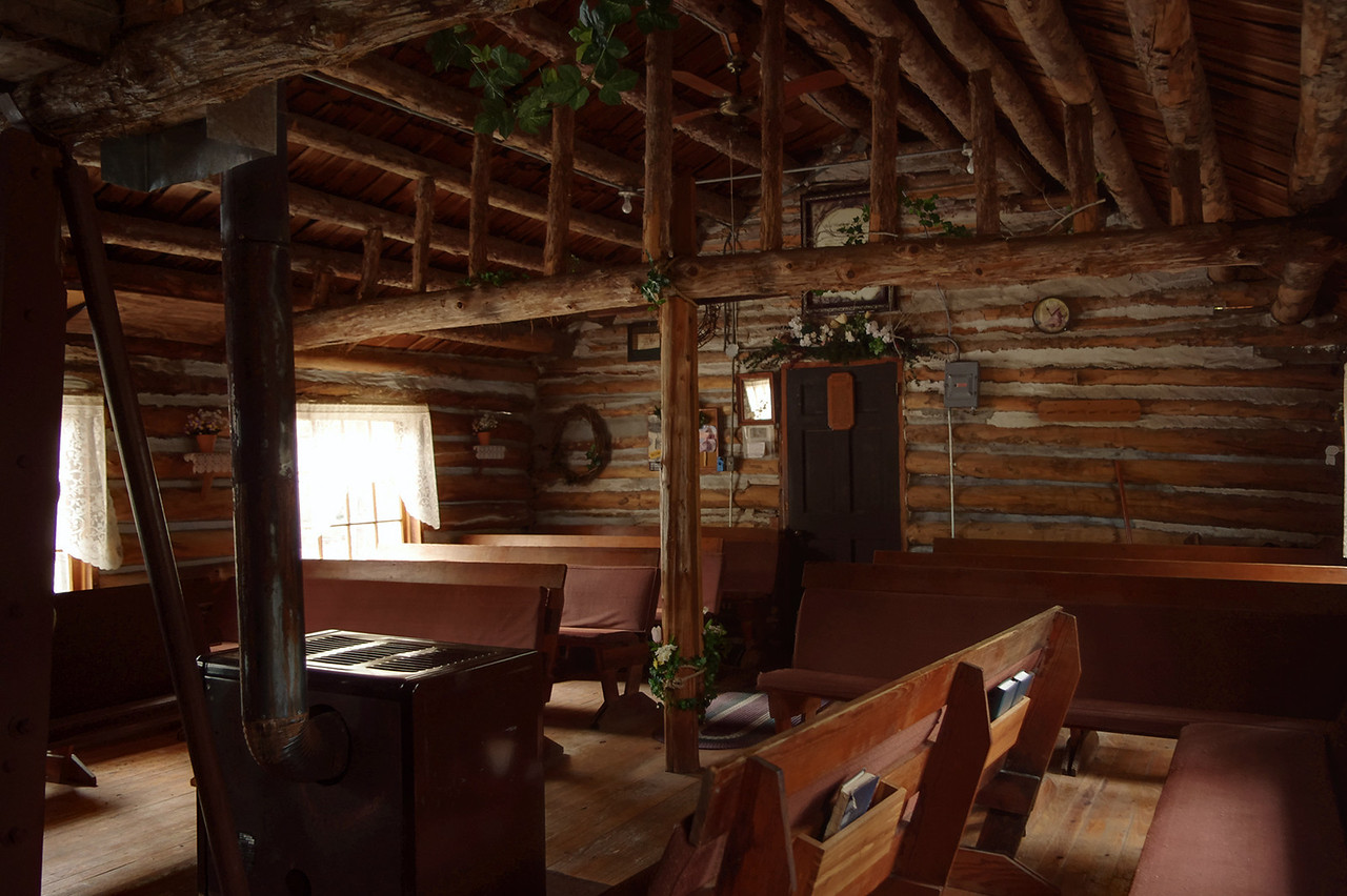 Interior, Sycamore Log Church, north of Branson, Missouri.