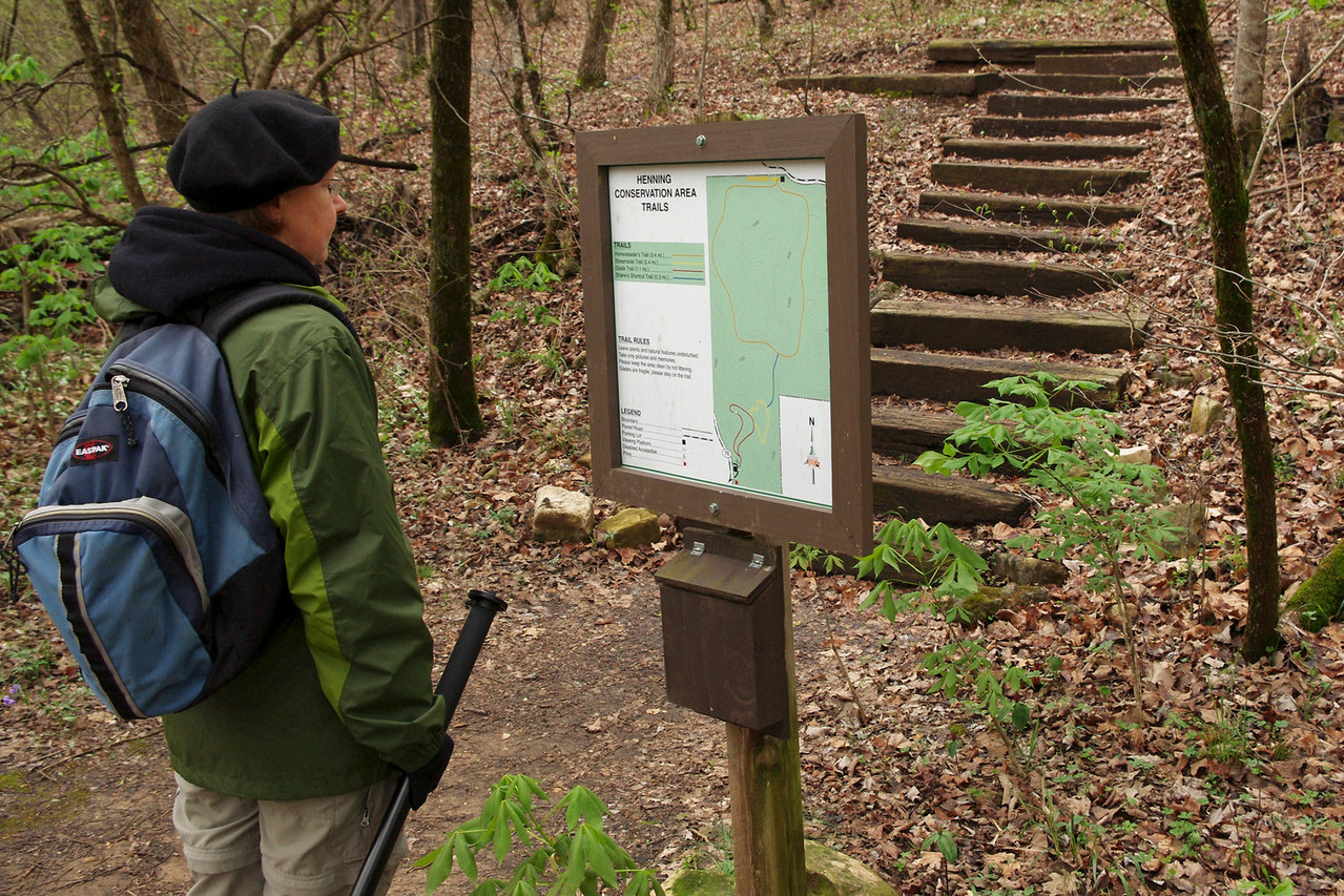 """Rita at the trail head, north entrance of the Henning Conservation Area. For a map of the conservation area:<br /> <br /> <a href=""""http://extra.mdc.mo.gov/documents/area_brochures/8208map.pdf"""">http://extra.mdc.mo.gov/documents/area_brochures/8208map.pdf</a>"""