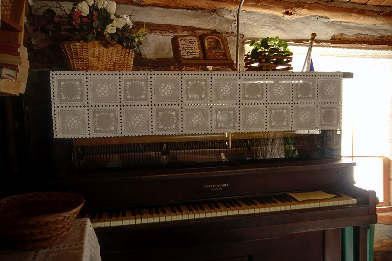 Piano, Sycamore Log Church, north of Branson, Missouri.