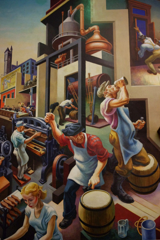 "Beer making! Detail, ""Social History of Missouri"" painted by Thomas Hart Benton in the House Lounge of the Missouri State Capitol."