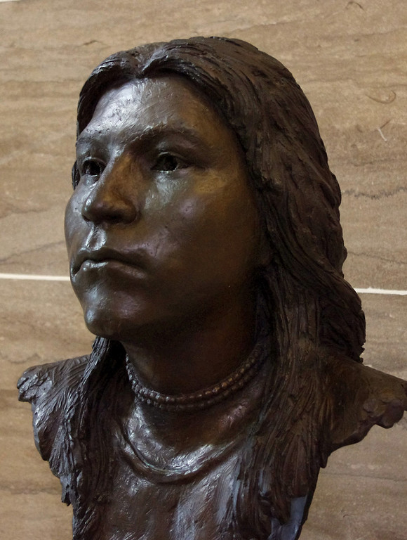 "Bronze bust of Sacagawea by sculptor William J. Williams. This is one of a series of pieces in the ""Hall of Famous Missourians"" in the State Capitol Building."