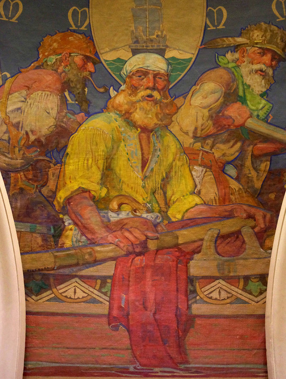 "One of several murals at the Missouri State Capitol Building by Allen Tupper True - this one called ""Early Rivermen."""