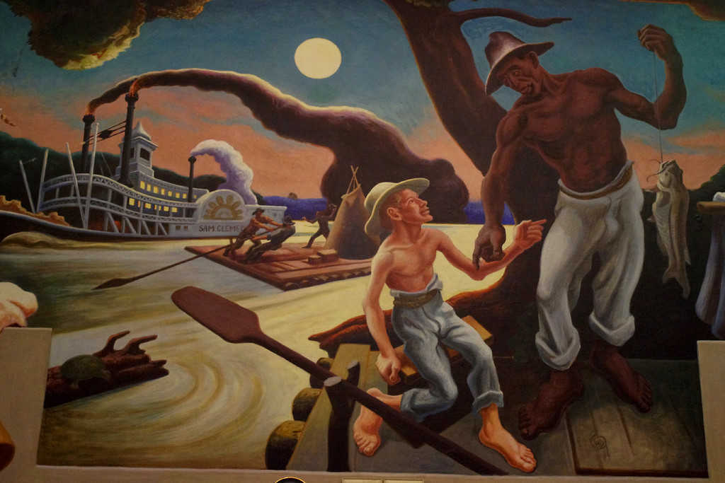"-- Thursday, September 23, 2010, cont.<br /> <br /> Detail - Tom and Huck, ""Social History of Missouri"" painted by Thomas Hart Benton in the House Lounge of the Missouri State Capitol."