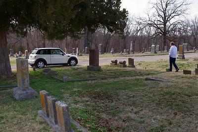 Rita and MINI; cemetery, near Carthage, MO