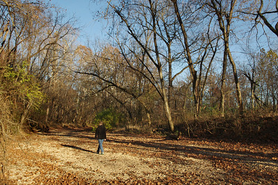 Rita hiking the dry creek bed of South Dry Sac, Lost Hill Park, north of Springfield, Missouri. Nov. 8, 2012.