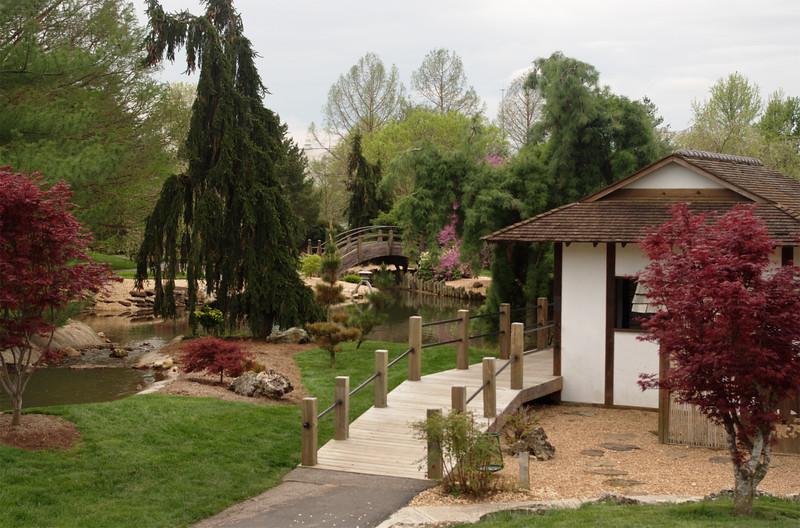 View of the tea house, Mizumoto Japanese Stroll Garden, Springfield, Missouri.
