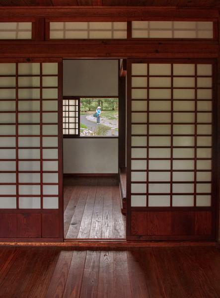 Interior view of the tea house, Mizumoto Japanese Stroll Garden, Springfield, Missouri.