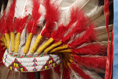 Headress - feathers and beads. Museum of Native American History, Bentonville, Arkansas.