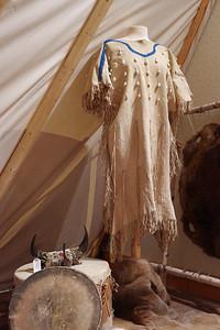Deer skin dress with cowry shells, Museum of Native American History, Bentonville, Arkansas.
