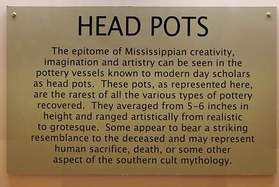 Sign: Head Pots, Museum of Native American History, Bentonville, Arkansas.