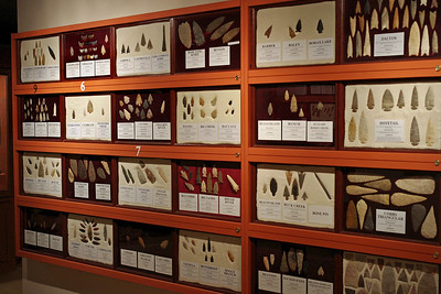 Projectile points on display, Museum of Native American History, Bentonville, Arkansas.