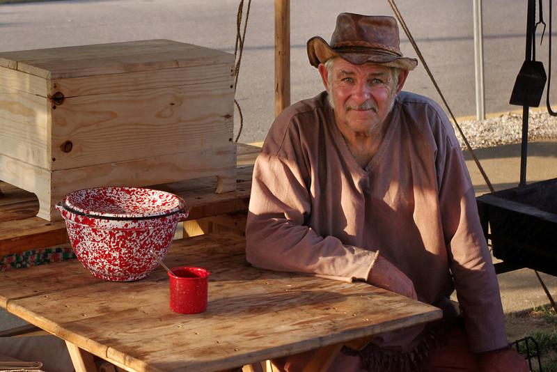 Rendevoux reenactor, Old Time Music Ozark Heritage Festival, West Plains, Missouri.  June 15, 2012.