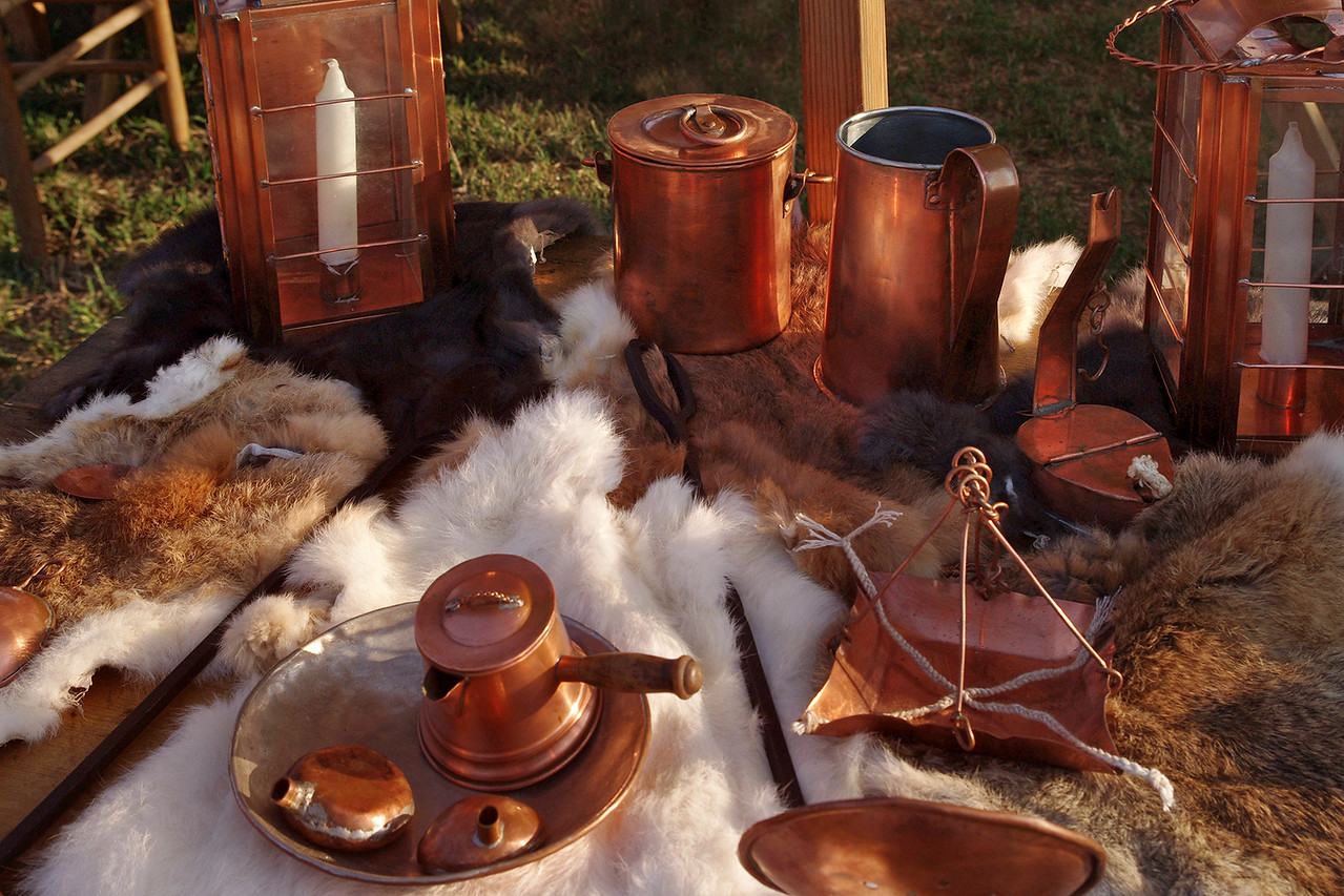 Copper goods for sale, rendevous reenactment, Old Time Music Ozark Heritage Festival, West Plains, Missouri.  June 15, 2012.