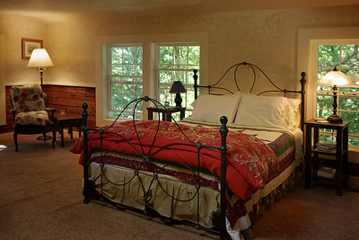 Rick's log house, interior, sleeping loft.