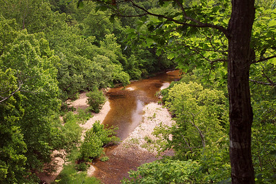 View down on Spring Creek from the lookout bluff on Rick's place. Douglas County, Missouri.