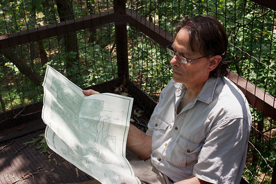 Gary checks the map. Lookout Trail; Roaring River State Park, near Cassville, MO.