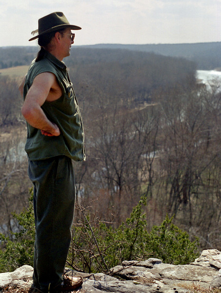 Gary on the cliffs above the Gasconade River at Rock Eddy Bluff, near Rolla, Missouri. Spring, 2001.