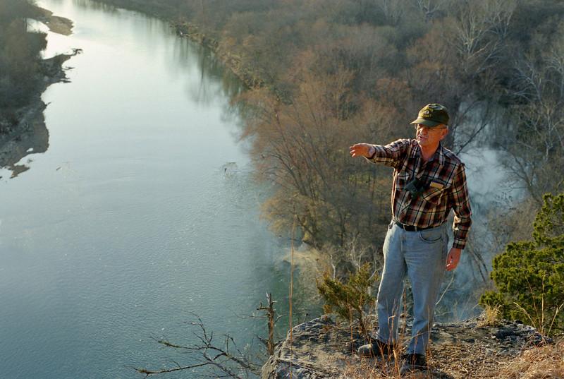 George on the edge of the bluffs,  Rock Eddy Bluff B&B near Rolla, Missouri. Spring, 2001.