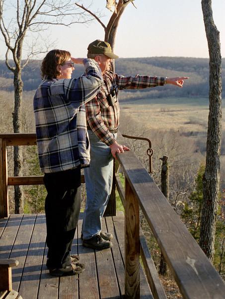 Rita and George on the deck at Rock Eddy Bluff B&B near Rolla, Missouri. Spring, 2001.