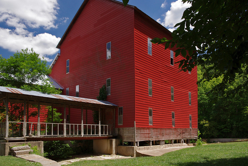 Mill at the Rainbow Trout Ranch; Rockbridge, Missouri, was built in 1868 on Spring Creek, a tributary of Bryant Creek. After years of disuse, it presently houses a bar, The Rockbridge Grist Mill Club.