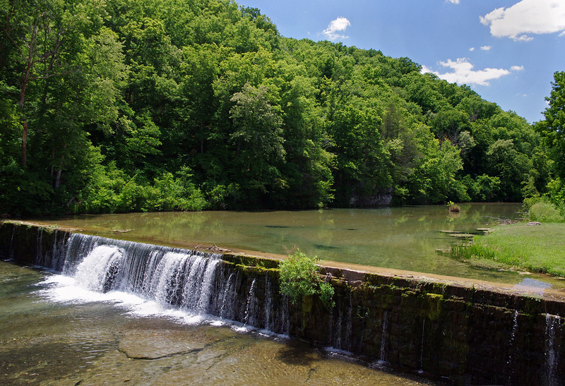 Mill dam, on Spring Creek, a tributary of Bryant Creek. Rainbow Trout Ranch; Rockbridge, Missouri.