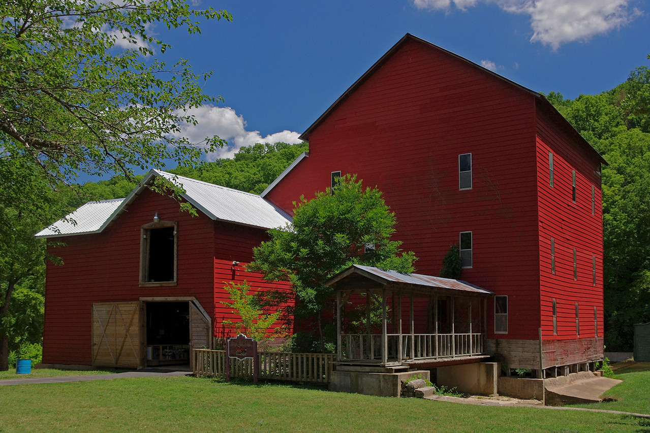 Mill at the Rainbow Trout Ranch; Rockbridge, Missouri was built in 1868 on Spring Creek, a tributary of Bryant Creek. After years of disuse, it presently houses a bar, The Rockbridge Grist Mill Club.