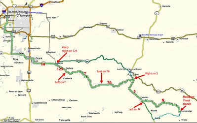 Map route (in bold, bright green) from Springfield to Rockbridge, Missouri. This is a good one if you've got a driver's car and are not afraid of a few curves.  Go south from Springfield and pick up Missouri 14 in Nixa or Ozark. (Alternately, you could go east from Springfield to 125, then south to Sparta.) Just past Sparta keep right on MO 125 to Oldfield.   At Oldfield watch for a left on T, and hang on tight, cause it gets a bit twisted!  County road T eventually intersects 76, where you want to keep left (East) towards Ava.  Just south of Ava turn right (South) on 5, which is pretty boring to drive after the excitement of T and 76.  Continue SE on 5 through Squires, and watch for a left turn on N, a nice twisty ridge road. When you drop off the ridge, slow down a bit - the turn to the Rockbridge Rainbow Trout Ranch (on right) is at the bottom of the hill in a sweeping curve, and is easy to miss.